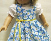 Blue Daisy Jumper and Blouse for American Girl Doll