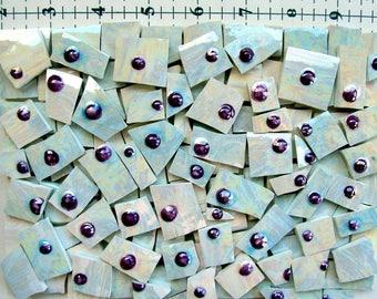 120 Iridized tiles with purple raised dots Mosaic Tiles