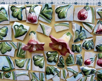 Pink embossed and iridescent Lily flowers and whole Lilies Mosaic Tiles