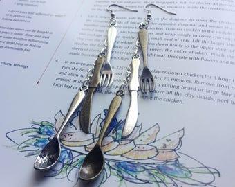 Cutlery Earrings - Fork, Spoon, and Knife Earrings - Long Dangle Earrings (Ready to Ship)