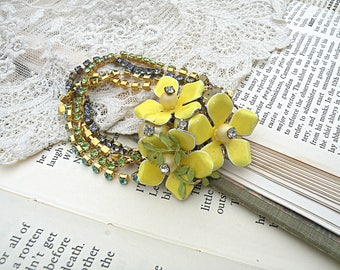 rhinestone assemblage bracelet enamel flower upcycled vintage jewelry yellow buttercup cottage chic garden wrist corsage