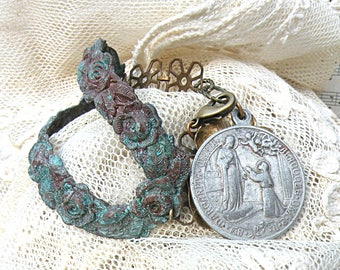 rustic assemblage bracelet fall roses religious medal patina rustic romance cottage chic distressed ooak