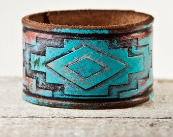 Turquoise Jewelry Cuff, Southwest Leather Jewelry, Leather Bracelets Leather Wristbands, Wrist Accessories