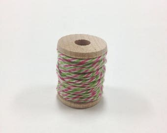 25% Off Summer Sale Baker's Twine on Wooden Spool - 5 Yards - 4 Ply Cotton Made in USA - Pink and Green Watermelon