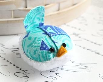 Small Pincushion Aqua Blue Bird Pincushion Pin Keep Kawaii Bird