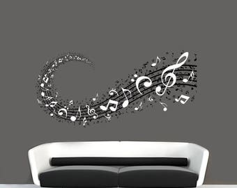 Music Notes Background Musical Notation Signs in 2 Colors Wall Vinyl Decal