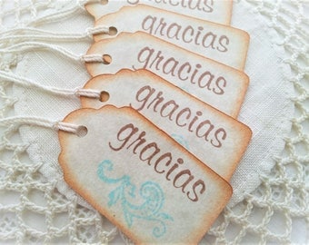 Spanish Gracias Thank You Mini Tags Set of 25 Wedding, Baby Shower Birthday, Retirement