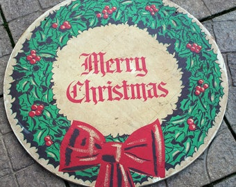 """Mid Century Christmas Holiday Decor  """"Merry Christmas"""" Wooden Wreath Sign Outdoor Display"""