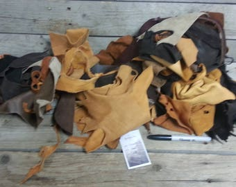 Natural Brown Color Salvaged Leather Scraps - Buckskin Leather Pieces -2 Pounds- Lot No. 170605-S