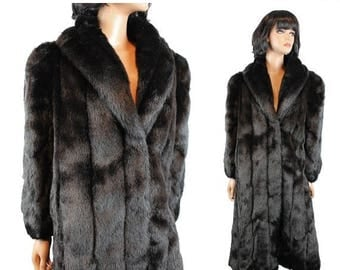 ON SALE Faux Fur Coat Sz M L Vintage 80s Saxton Hall Long Blackish Brown Glossy Mink Trench Jacket Free Us Shipping