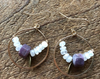 Moonstone and Unpolished Ruby 12k Gold Fill 'Glass Half Full' Earrings