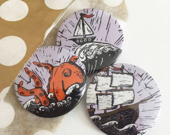 Sea Monster badges, nautical lapel pin, Pirates Pin badge, Flair, party bag fillers, party favours, Stocking fillers,