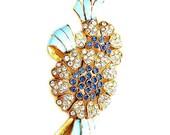 Coro Blue Enamel with Blue and Clear Rhinestone Flower Brooch