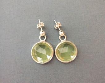 Rose Cut Prehnite & Sterling Silver Drop Earrings