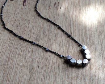 Two Tone Silver Nugget Necklace Oxidized Sterling Silver Necklace