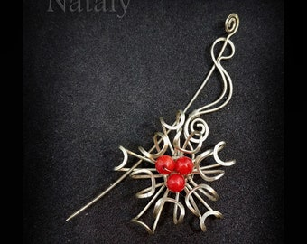 Shawl Pin, Wire Wrapped Scarf Pin, Sterling Silver Flower Brooch Gift for Mom, Collar Pin, Grandma Gift Sweater Pin, Red Brooch Coral Brooch