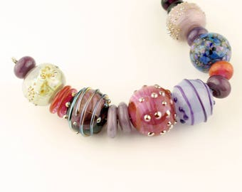 Hollow Lampwork Glass Bead Set, Blue, Purple, Pink, Lavender, Large Iridescent Beads