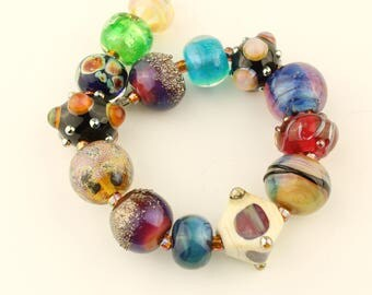 Lampwork Glass Beads,  Artist's Collection in Iridescent Pink Lavender Blue Green Purple