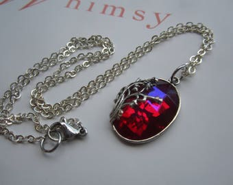 Silver Plated Lily-Of-The-Valley Pendant Necklace With Ruby AB Gem