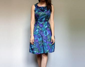 Blue Green Floral Dress Vintage Clothing 80s Party Dress Floral Print Summer Dress - Small S