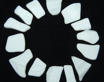White Faux Sea Glass recycled glass (14 pieces)