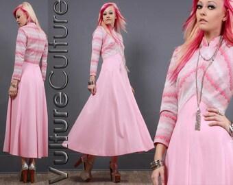 Vintage 60s Hippie Goddess Dress Pink Metallic Silver Chevron 70s Maxi M/L