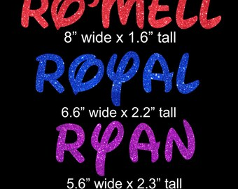 Reserved - Balance for Ro'mell (red) Royal (royal blue) Ryan (purple)  iron on glitter vinyl transfers