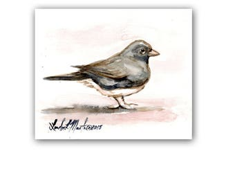 Snow Bird Art Original Junco Watercolor Painting  LLMartin  Virginia Country Free Shipping USA Santa's Song Bird
