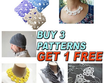 Buy 3  Patterns, Get 1 More Free Pattern, Crochet Patterns, Crocheted Necklace Bracelet,  Crochet  Collar, Crochet Wrap Scarf, Knit Man Hat