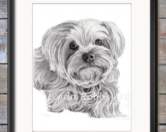 Pet Portrait PRINT, Animal Art, Yorkshire Terrier