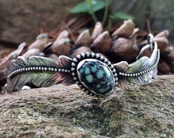 Feather Bracelet with Poseidon Gemstone, Sterling Silver Bangle Bracelet, Boho Jewelry, Feather Jewelry, Artisan Jewelry