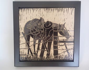 Ranch House Decor, Sgraffito Carved, Equestrian Art,  Framed Art Tile, Wall Tile, Cowboy and Horse, Black and White Sgraffito, Carved Tile.