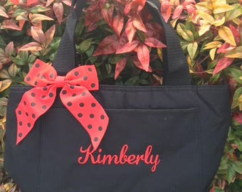 Monogrammed Black Insulated Womens Lunch Bag Box Cooler Personalized Women