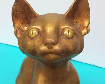 Vintage Freeman McFarlin Antony Large Sitting Gold Cat