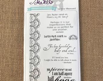 SUPPLY DESTASH - Sweet Stamp Shop - Austen Obsessed Acrylic Stamp Set - Retired Set