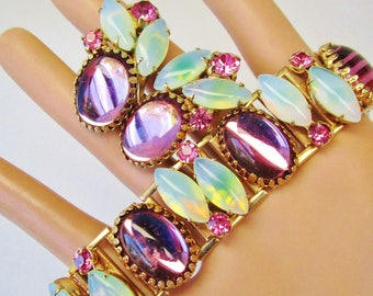 Vintage Opal Pink Amethyst Soft Pearlescence D & E unsigned ? Earring Bracelet Set Gemstones Crystals Edwardian Ornate Victorian Marquise
