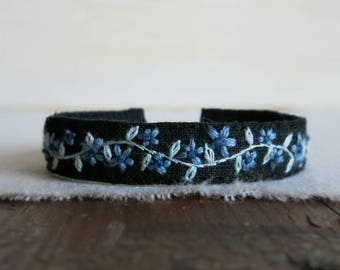 Blue Floral Embroidered Cuff Bracelet - Dusty Blue Flowers and  Light Blue Vine on Black Linen Cuff Bracelet
