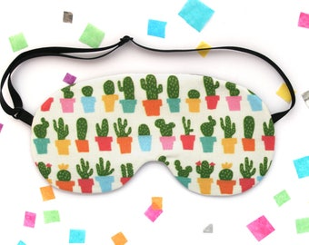 Cactus Plant Sleep Mask, Fabric Accessory, Silk Back, Adjustable Elastic