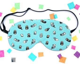 Otters Eye Mask, Cute Animal Fabric, Travel Mask, Silk Back, Gift under 15, Valentines Gift