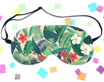 Tropical Leaf Sleep Mask, Eye Mask, Plant Accessory, Palm Leaf, Flowers, Banana Leaf, UK Gift