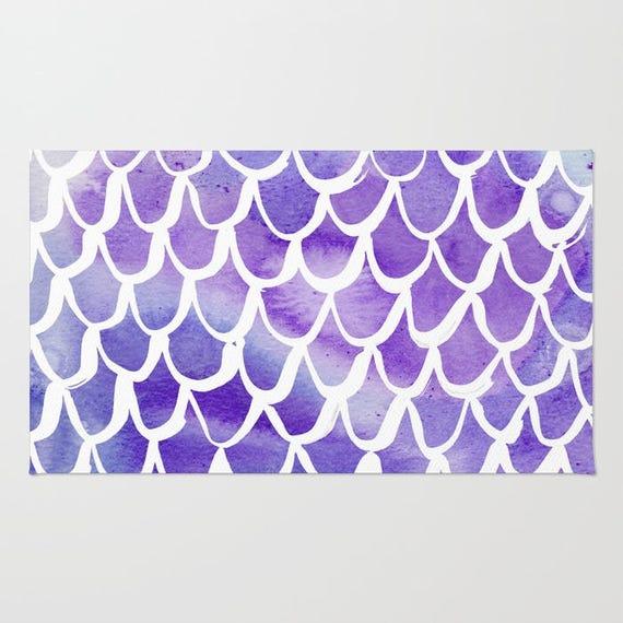 Mermaid rug - Area Rug - Purple Throw Rug - Carpet - Accent Rug - Floor Rug - Watercolor Rug - 2 x 3 rug - 3 x 5 rug - 4 x 6 rug
