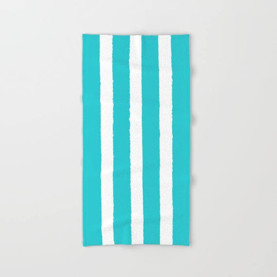 Aquamarine and White Stripe towel - striped hand towel - Cyan beach towel - hand towel - Stripe bath towel - aqua beach towel