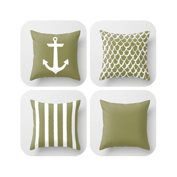 Olive Throw Pillow . Mermaid Pillow . Anchor Pillow . Coastal Pillow . Striped Pillow . Green cushion . Throw Pillow 16 18 20 24 inch