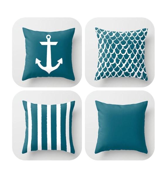 Oceanside Throw Pillow . Mermaid Pillow . Anchor Pillow . Teal Pillow . Striped Pillow . Oceanside cushion . Throw Pillow 14 16 18 20 inch