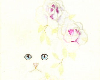 Cats and Flowers Blue Eyes Pink Noses and Roses White Daisies Lily Butterfly Counted Cross Stitch Embroidery Craft Pattern 349 Leisure Arts