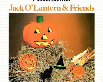 Jack-O-Lantern and Friends Plastic Canvas Black Cat Witches Hat 3 Dimensional Pumpkin Halloween Needlepoint Embroidery Craft Pattern Leaflet