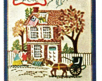 Colonial America Olde Philadelphia Printed Fabric Color Chart Directions Crewel Embroidery Craft Pattern 1997