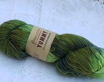 DESTASH - Fibra Natura Yummy Sock Yarn - Superwash Merino - Greens - Discontinued