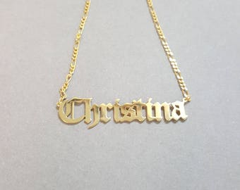Large Statement 2 cms tall Old English Hip Hop or Gothic Style Name Necklace 14k Gold Plated, up to 10 letters
