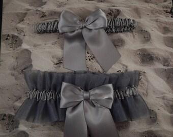 Gray Grey Satin Gun Metal Gray Tulle Bridal Wedding Garter Toss Set